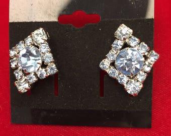 Signed Continental Blue Rhinestone Screw Back Earrings