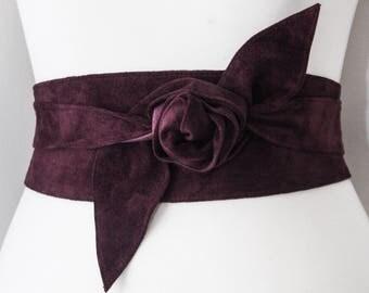 Burgundy Suede Corset Obi Belt | Waist Cincher suede Belt | Suede wrap Belt | Real Suede Leather Belt| Burgundy Maroon Belt | Plus Size Belt