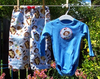 Blue Baby Set in Animal Print 3-6 M, Bodysuit and Pants