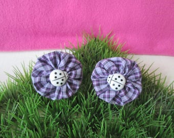 """""""Fabric flower"""" hair ties and violet gingham"""