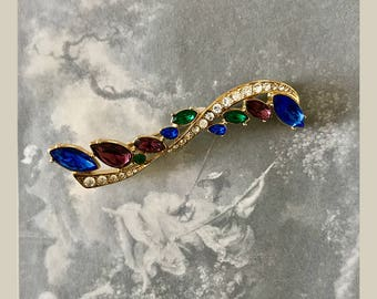 Gold Tone 1980's Trifari Brooch with Blue Purple Green Clear Rhinestones