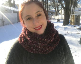 Hand Knit Snood Style Scarf Variegated Red, Black, White