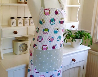Apron, Owls & Sage Green Dotty Apron, Owls Apron, Full Apron, Adjustable Apron, Womens Apron, Gift for Her, Kitchen Accessory, Baking