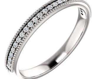 Any Color 14K Gold Diamond Wedding Band