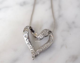 CLEARANCE! 14K White Gold Diamond Heart Necklace