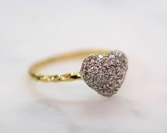 14K Gold Heart Design Diamond Ring
