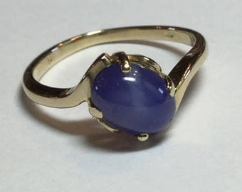 Vintage 14k Yellow Gold Blue Star Sapphire Ring Size 5