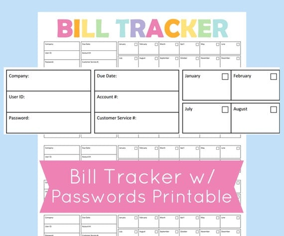 Monthly Bill Organizer Printable Expense Tracker Bill