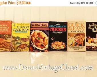 30% Off Spring Sale 6 Vintage 70's - 80's Paperback Cook Books Pocket Cook Book Chicken Cookbook The International Cheese Recipe Book Hambur