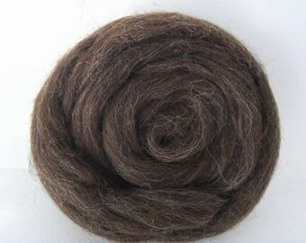 25g wool felting or spinning Irish dark brown color