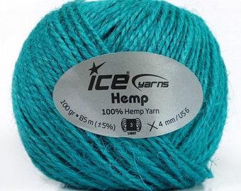 Natural Hemp Cord 3 DK Light Worsted 100 gr, Turquoise Macrame Rope, Linen Craft Yarn 92 yds
