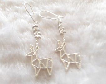 Silver Chamois white origami earrings