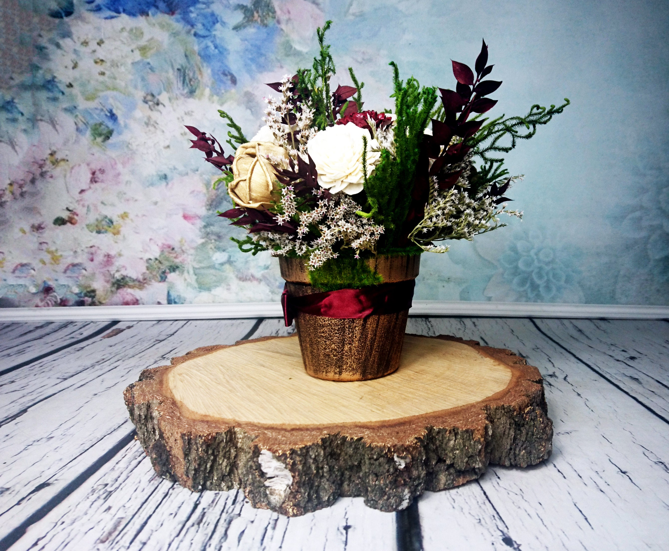 Rustic Gold Centerpiece : Burgundy green and gold rustic wedding centerpiece made