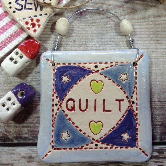 Ceramic Quilt hanging decoration, quilty, patchwork ornament, handmade