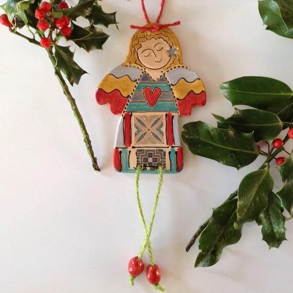 Handmade ceramic angel, fairy, hanging decoration, christmas, ornament