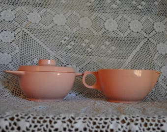 Vintage Pink Melmac Durawear Cream & Sugar Set