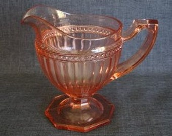 "Imperial Glass ""Fancy Colonial Pink"" Creamer, Pink Imperial Glass Creamer, Imperial Glass Pink Creamer"