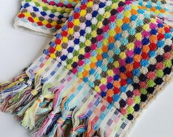 RAINBOW BRITE Mini Towel, Hand Towel, Hair Towel, Bar Towel, Hand Loomed Turkish Towel, Rainbow Dot Terry Towel, 100% Turkish Cotton