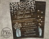 Wedding Invitation Baby's Breath Mason Jar Rustic Wood Country Barn String Fairy Lights Cream Digital or Printed I customize for you