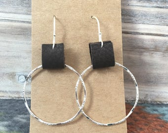 Textured Silver and Leather Hoops