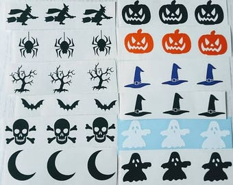 30 x Halloween shapes vinyl transfers/decals 3cm ideal for adding to glasses/plaques etc - choose your designs