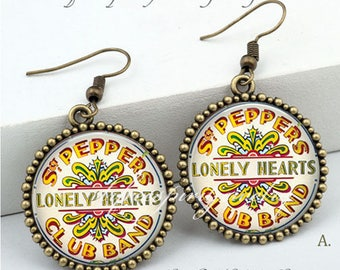 Beatles Earrings, Lonely Hearts Club Band, Musicians, Bands, Boho, Bohemian jewelry, Retro, Beatles Jewelry, Sargent Peppers Gift,