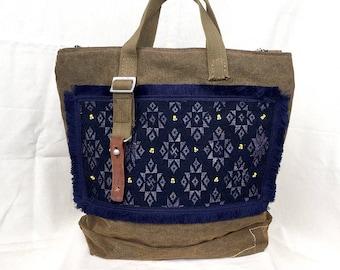 Vintage Handbag, tribal bag, Canvas Bag, carry bag, textile bag, Canvas Handbag