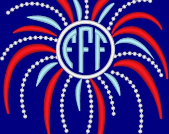 Fireworks circle monogram font frame 4th of July, firework embroidery designs, awesome patriotic kids outfit embroidery monogram font frame