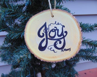 hand painted wooden Christmas ornament Joy