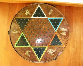 Vintage 60's/70's Tin Reversible Round Chinese Checkers Checkers Game Board