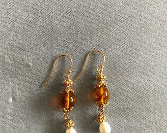 Amber and pearl earrings