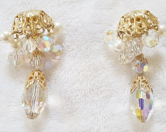 Spectacular Vintage Gold Tone Clear Aurora Borealis Glass Bead and Faux Pearl  Dangle Drop Clip-On Earrings