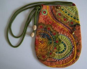 MAJA ... Textile bohemian bag , embroidered in beautiful colors.