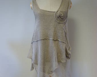 Special price. Summer transparent taupe linen top, L size. Made of pure linen.