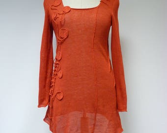 Special price. Poppy red linen sweater, L size.