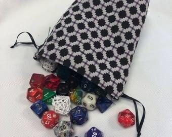 Patterned Purple & Black Dice Bag