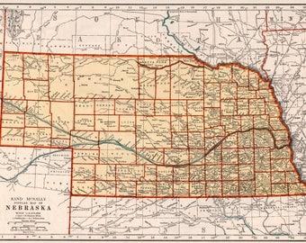 Vintage Nebraska Map Etsy - Nebraska map