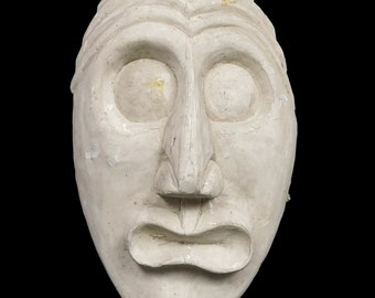 1960s Plaster Face Sculpture Comedy Tragedy Mask Ceramics MCM MOD Mid Century Modern