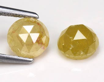 2.22 Ct Rose Cut Matching Pair 100% Untreated Natural Fancy Intense Yellow Diamond