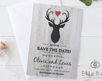 Stag Wedding Save The Date Card // Stag Save The Date // Rustic Save The Date Card // Highgate Collection // Stag Wedding Invitations //