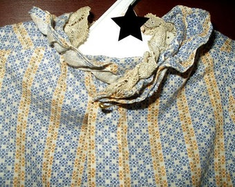 Antique Victorian 1880 Girl Doll Primitive Calico Dress Ruffles Lace Trim