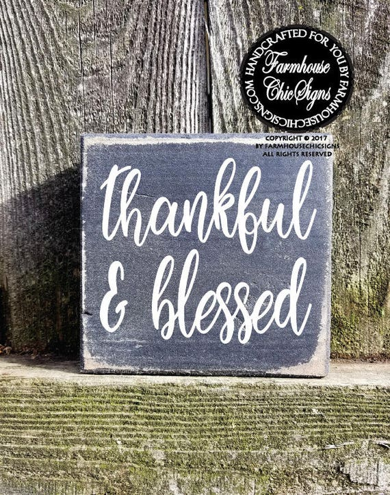 Thankful & Blessed Shelf Sitter Sign