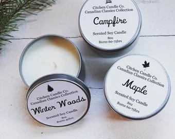 8 oz Canadian Classics Collection Campfire Scented Soy Candle
