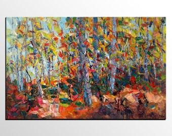 Autumn Tree Art, Canvas Oil Painting, Contemporary Art, Abstract Art, Canvas Painting, Modern Art Painting, Living Room Wall Art, Large Art