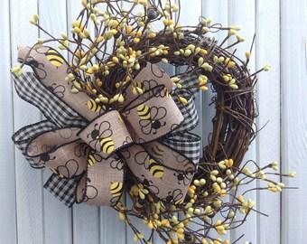 Bee Wreath Grapevine Farmhouse