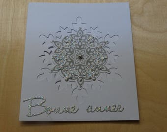 Silvery white snowflake Christmas card