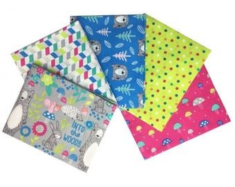 Into the Woods 5-piece Fat Quarter Bundle (Blue/Lime/Pink) Bear Mushroom Woodland Forest