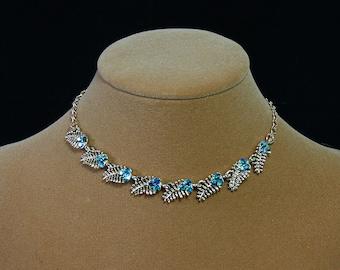 Vintage blue rhinestone necklace gold leaf chocker necklace Coro jewelry