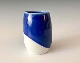 Modern handmade elegant Ceramic Wine Cup, Tea Cup, Coffee Cup, Tumbler brilliant blue over porcelain Haight Pottery Company