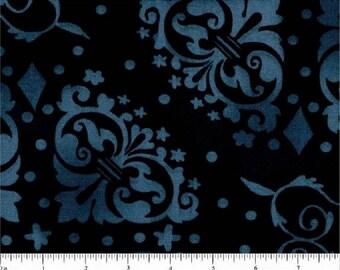 "Denim Blue Novelty Print-Black B/G-108"" Wide-Choice Fabrics-BTY"